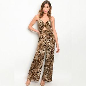 Leopard Jumpsuit Wide Leg Dress